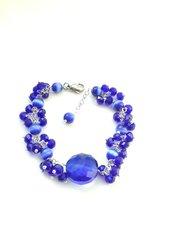 Bracciale blu elettrico grappoletti occhio di gatto cristallo