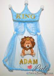 Fiocco nascita PRONTA CONSEGNA personalizzabile con nome maschio principe re leone corona pannolenci