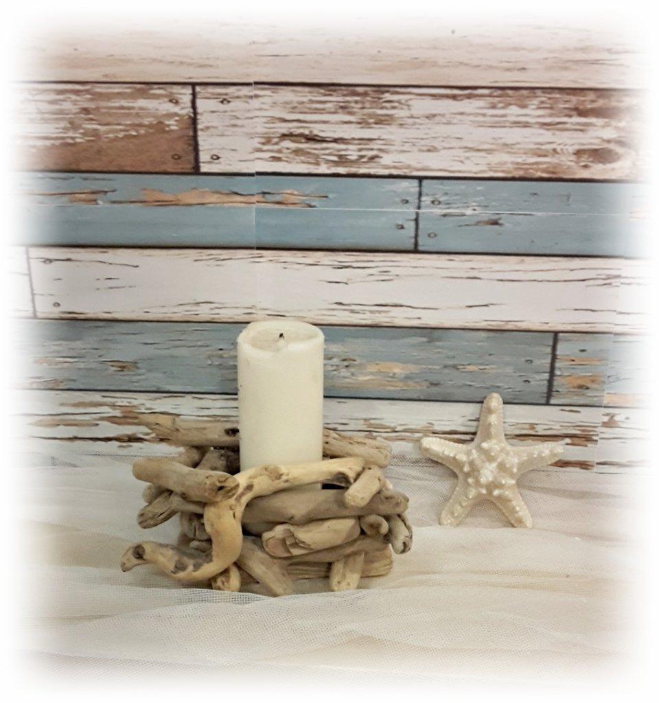 Porta cero con legni di mare, regalo, casa al mare