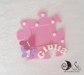 Cornice calamite portafoto primo compleanno puzzle rosa per bimba con farfalle