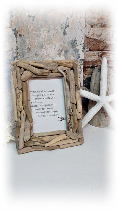 Cornice per foto con legni di mare, regalo, per casa al mare, fatto a mano
