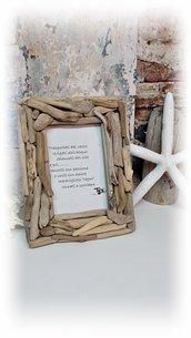 """Portafoto """" NIDO' """" con legni di mare, regalo, per casa al mare, fatto a mano"""