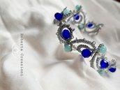Braccialetto mare argento con perle blu azzurre amazzonite chiacchierino