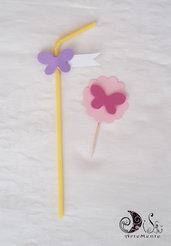 Cupcake topper tonde con farfalle rosa personalizzabili
