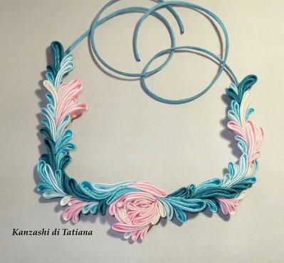 Collana kanzashi con fiori 7.4