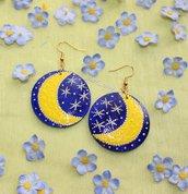 Orecchini Luna interamente dipinti a mano