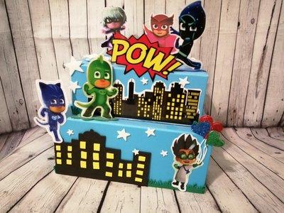 Torta scenografica pj mask bambini bimbo compleanno. Personalizzabile.