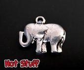 1 Portafortuna charm Elefante liscio - Argento tibetano (21x25mm)