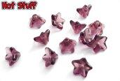 3 Perline a fiore campana in vetro ceche - Ametista (9x6mm)