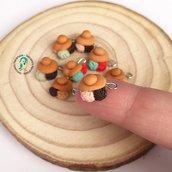 Lotto 5 pezzi brioche col tuppo ripiene di gelato ciondoli in fimo, sicilia