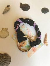Bracciale trecce nero e lilla