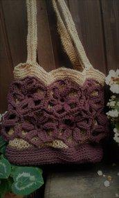 borsa cotone  juta naturale nuova crochet  handmade Italy Sassi di Mica