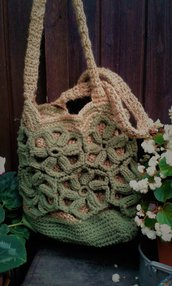 borsa cotone  juta naturale nuova crochet  handmade Italy Sassi di Malachite