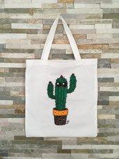 Borsa di cotone bianca con cactus in vaso