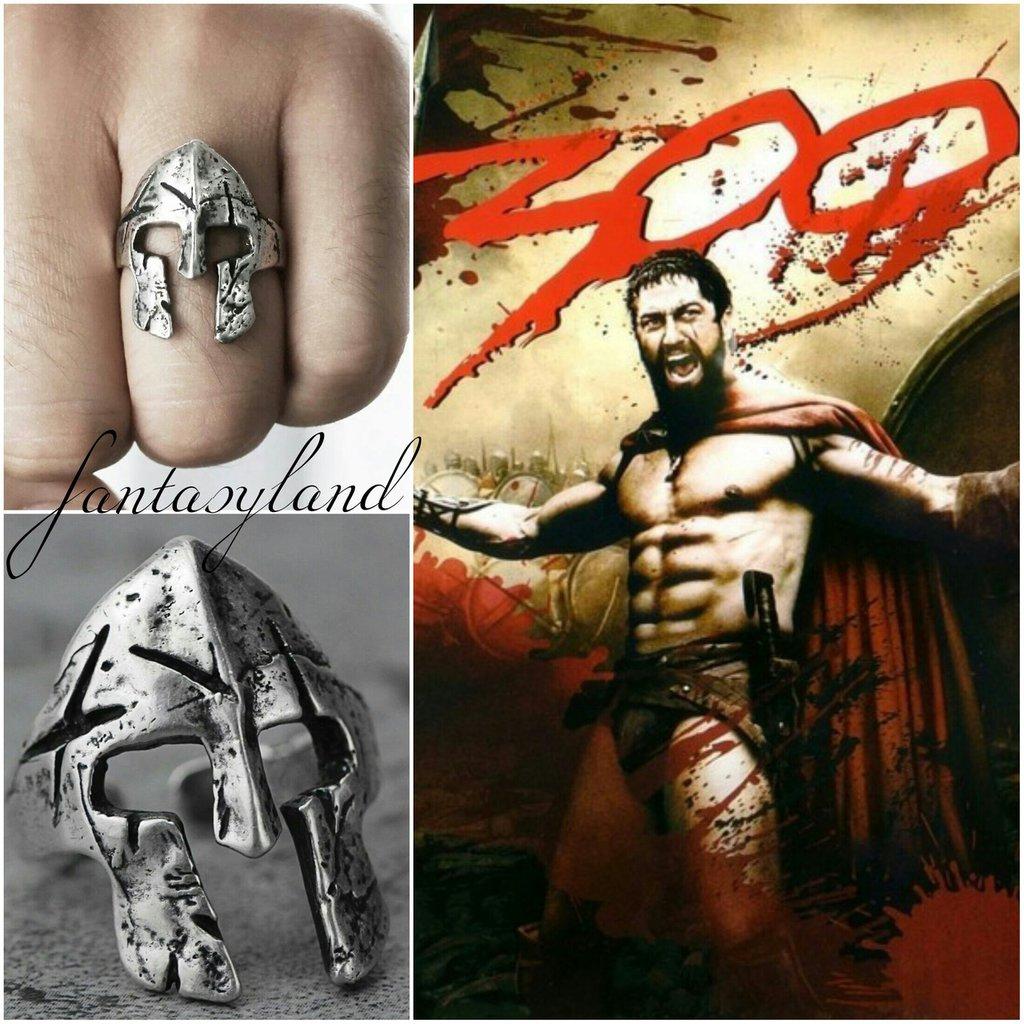 anello elmo gladiatore 300 film forza regolabile uomo
