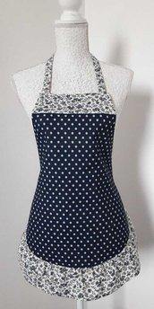 Grembiule da cucina donna in jeans blu a pois bianchi con balza a fiorellini