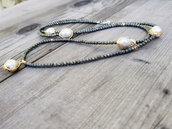 Collana lunga di pirite perle barocche e pepite in oro. Collana idea regalo realizzata a mano. Artigianato italiano