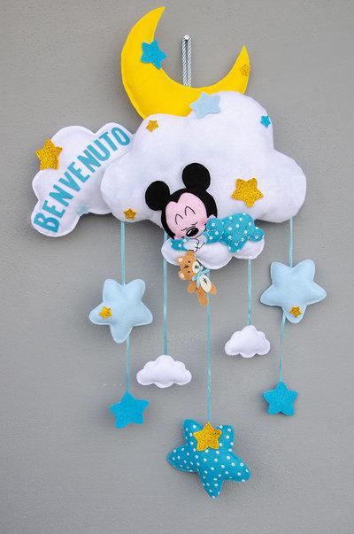 Fiocco nascita topolino dolce ninna, 60 x 35 cm