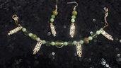 Bracciali perle verdi con pendenti in argento+orecchini +collana