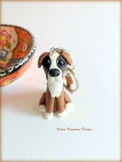 Portachiavi cane boxer personalizzato con nome su un charm a forma di osso, miniatura personalizzata come idea regalo per amanti dei boxer