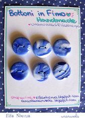 bottoni in fimo blu/bianco marmorizzato