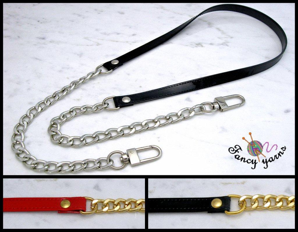 Tracolla per borsa lunga cm.100 - similpelle lucida impunturata , catena oro o argento, 4 varianti di colore a scelta
