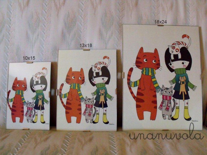 quadretto gatti 10x15 cm