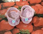 Scarpette scarpine  infradito cotone  crochet neonato bebè
