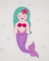 Bambola sirena lilla, 33 x 11 cm