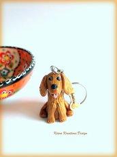 Portachiavi cane cocker spaniel personalizzato con nome su un charm a forma di osso, idea regalo per amanti dei cocker
