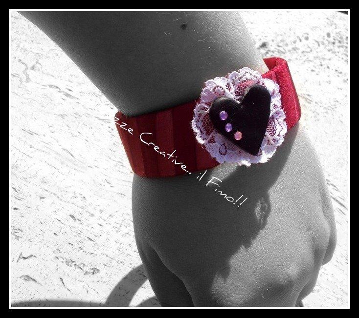 ★★SALDI Bangle Love - bracciale con cuore :) in fimo e cernit, very kawaii
