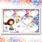 Tableau arcobaleno rainbow comunione cresima battesimo compleanno nascita personalizzato completo di segnatavoli