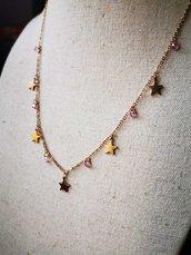 Collana in acciaio stelle e cristalli rosa