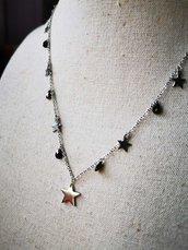 Girocollo stelle argento e gocce nere