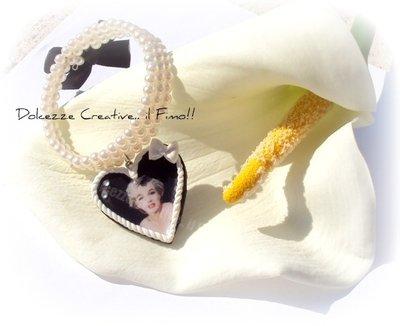 ★★SALDI Bracciale Marilyn Monroe - filo di pelle e fiocco nero - elegance
