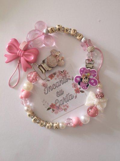 Catenella portaciuccio rosa e bianca