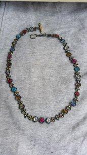 Collana con bicono multicolori