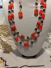 COLLANA orecchini di colore arancione
