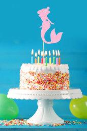 Cake topper sirena rosa, tema mare, 27 x 10 cm