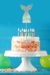 Cake topper coda sirena, tema mare, 27 x 7 cm