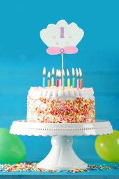 Cake topper conchiglia, tema mare, 24 x 10 cm