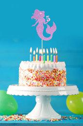 Cake topper sirena lilla, tema mare, 27 x 10 cm