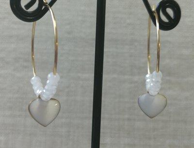 Orecchini acciaio con cuore bianco e cristalli