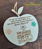 Targa in legno, idea regalo per maestra, fine anno scolastico.