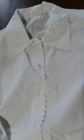 camicia da notte cotone ricamo bianco vintage Italy