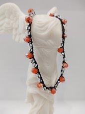 Collana donna con cristalli collarino donna collana fatta a mano collana all' uncinetto