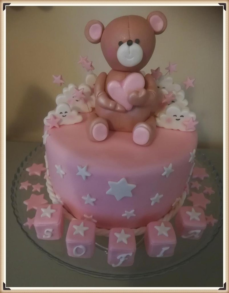 Dummy Cake con Orsetto dolce cuore e nuvolette