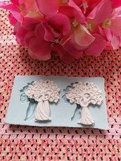 Multistampo - stampo sposini con albero della vita con cuori in gomma siliconica professionale da colata