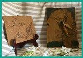 Orologio in legno  da muro con leone