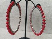 Orecchini moda 2020, in acciaio con perline rosse